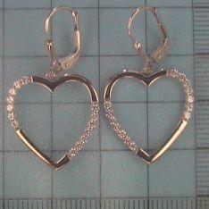 Ohrringe für Damen aus 925 Sterlingsilber Herz-Ohrhänger mit Brisur