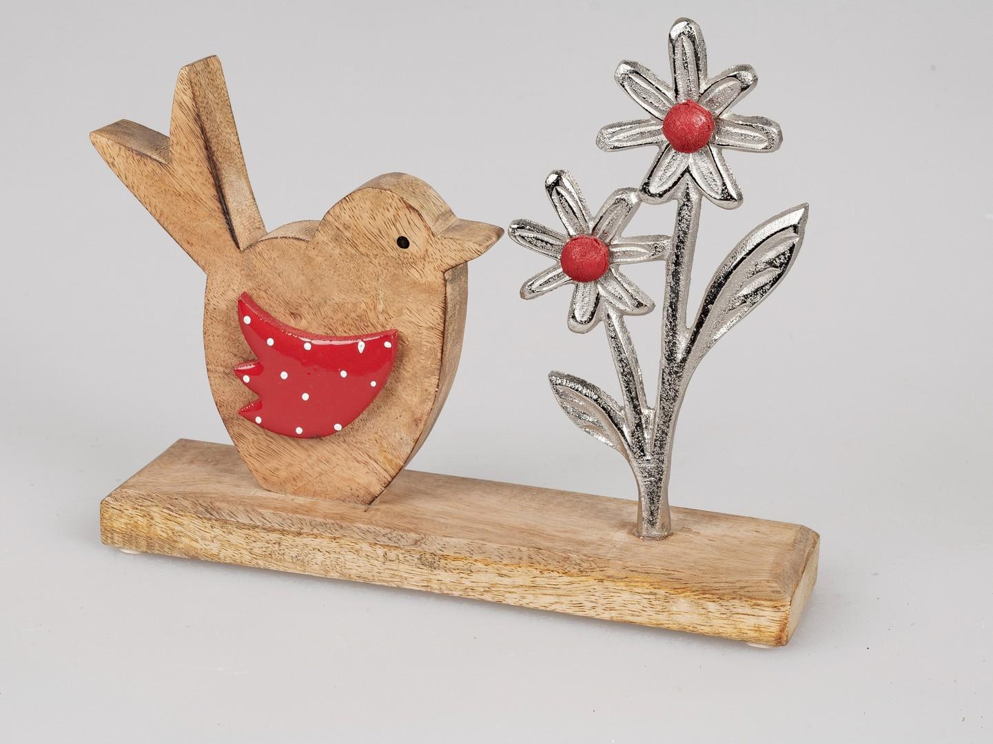 vogel mit blume ca 24cm aus alumango rot  deko rudloff