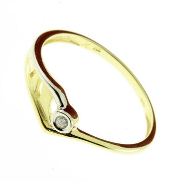 Damen Brillant Ring echt Gold 585 14 Karat 71614 W.58