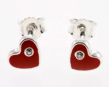Ohrstecker echt Silber rote Herzchen Kinder Ohrringe