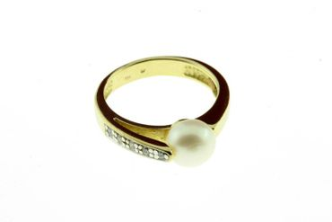 Damen Ring echt Gold 333 8 Karat Perle 71702 W.52
