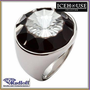 ICEHOUSE Schmuck großer Ring Stein Größe 54 Edelstahl 731071 ICE HOUSE