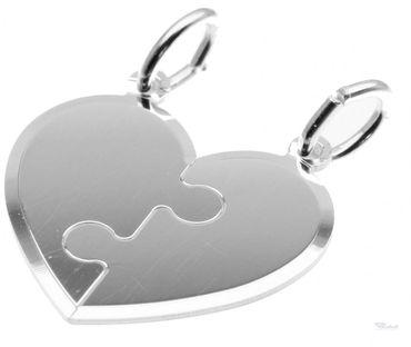 Partneranhänger Herz zum zerteilen aus Sterling Silber inkl. Gratis Gravur