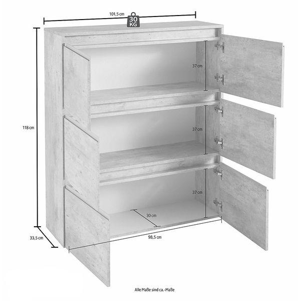 stauraumschrank h ngeschrank wohnzimmer wei hochglanz neu 146290 vitrine. Black Bedroom Furniture Sets. Home Design Ideas