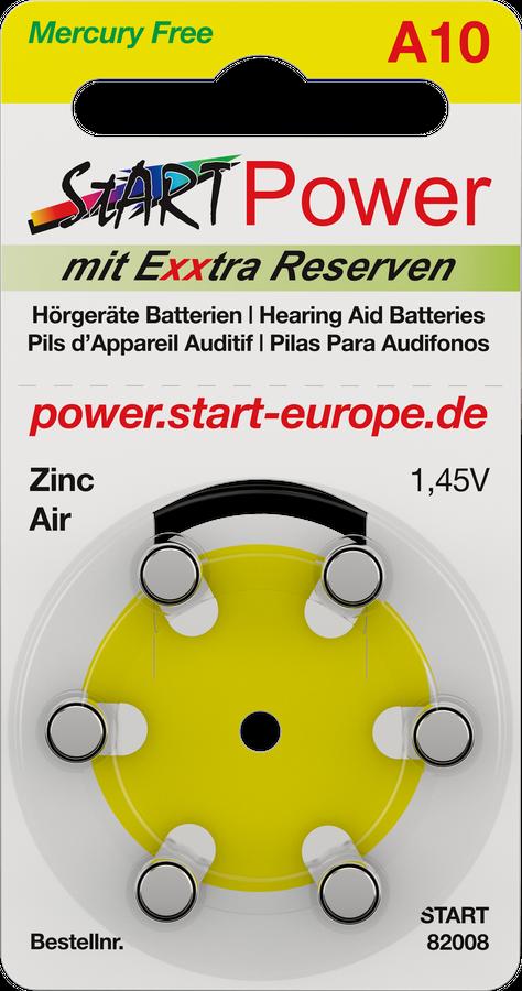 StartPower - 60 Batterien für Hörgeräte - Typ A10 - 1.45V - 100mAh - PR70