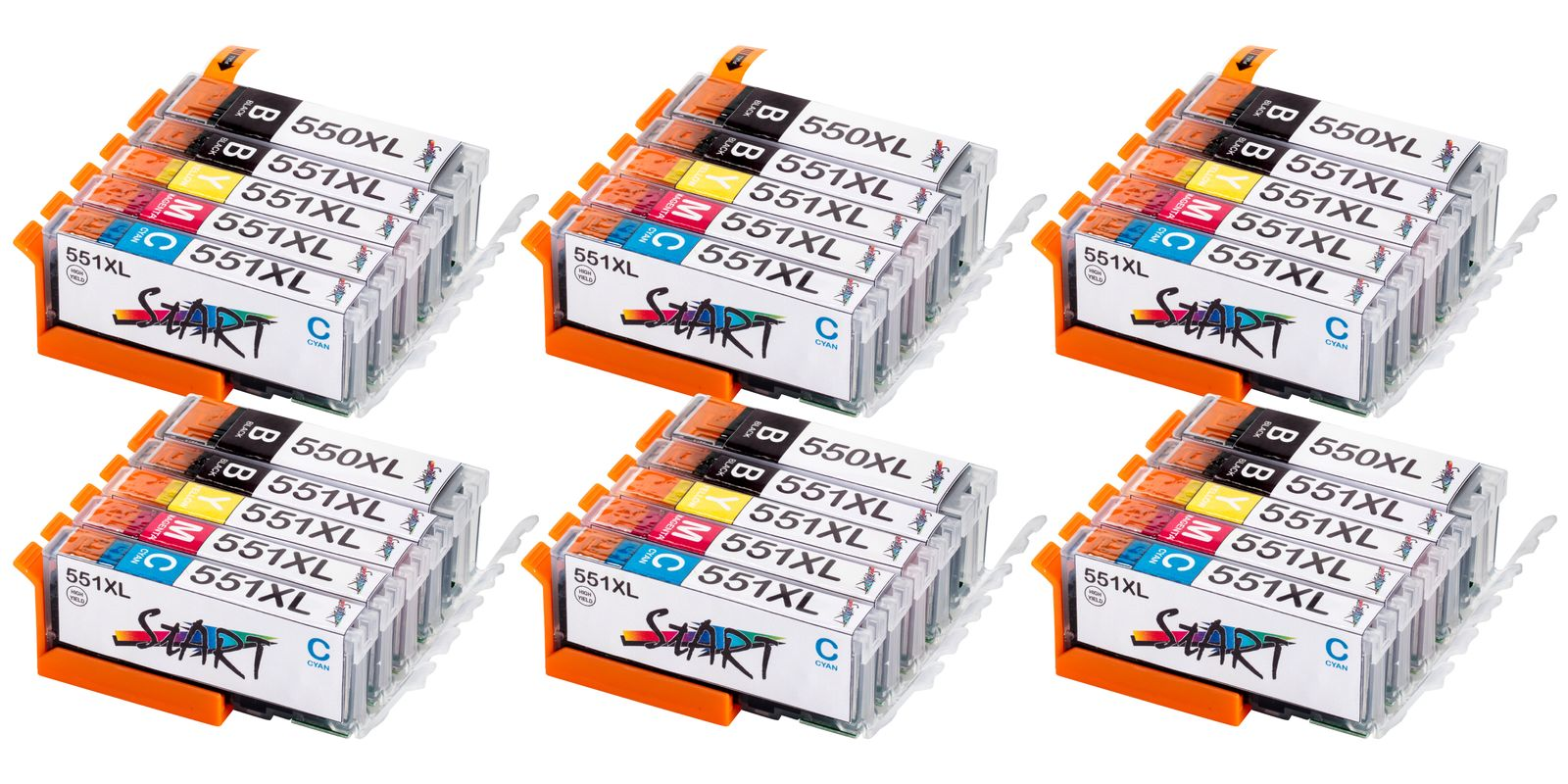 30 Compatible Ink Cartridges to Canon PGI-550 / CLI-551  (BK, PHBK, C, M, Y) XL