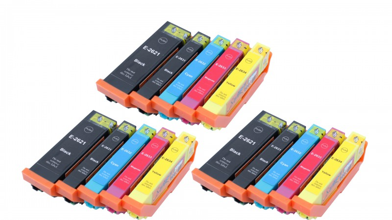 15 Compatible Ink Cartridges to Epson T2621 - T2634  (BK, PHBK, C, M, Y) XL