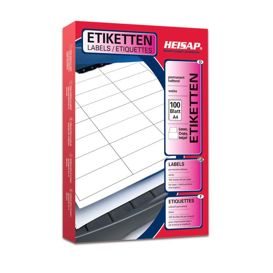 Laser, Copy, Inkjet Etiketten, weiß, permanent, A4, 100 Blatt/ Packung, 63,5 x 33,9 mm, 24 Etiketten pro Blatt