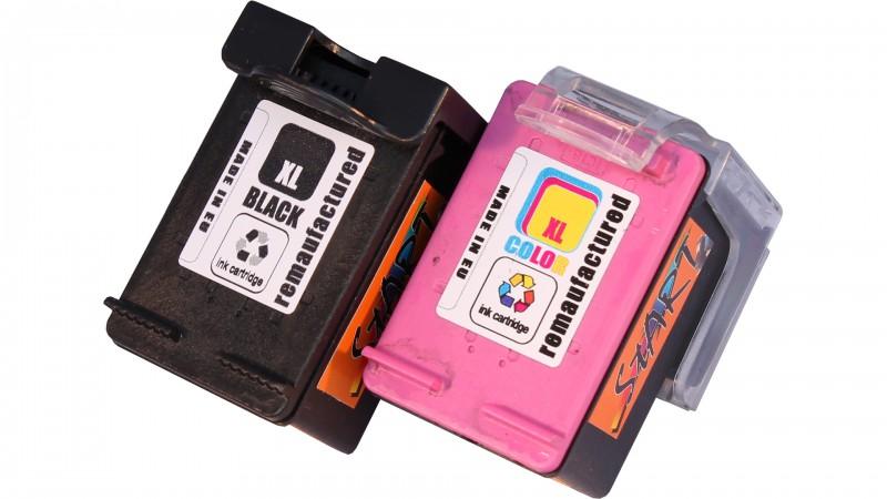 2 Ersatz Tintenpatronen kompatibel zu HP 302XL Schwarz, Farbe, dreifarbig