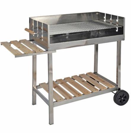Grill XXL Edelstahl Grillwagen Holzkohlegrill fahrbar mit Holzablage günstig online kaufen