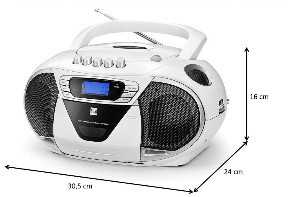 cd player mp3 cd mit kassettenfach ukw radio und aux in dual p68 weiss ebay. Black Bedroom Furniture Sets. Home Design Ideas