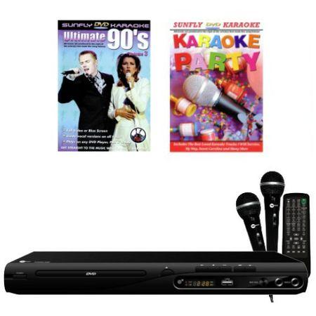 KARAOKE KOMPLETT ANLAGE CD+G DVD PLAYER + 2 MIKROFONE + 2 KARAOKE PARTY DVD's günstig online kaufen