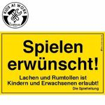 Spielen Schild 25X15 Cm 001
