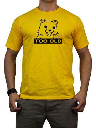 """Pedobär - Too Old"" Shirt gelb / schwarzer Flock"