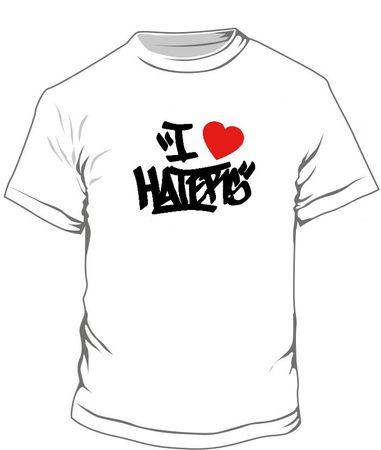 "T-Shirt ""I LOVE HATERS"" weiss / schwarzer Flock"