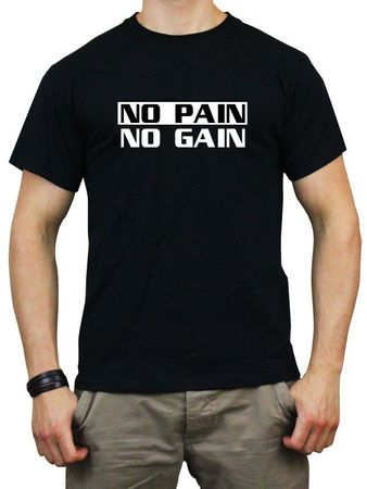 T-Shirt NO PAIN NO GAIN schwarz / weisser flock