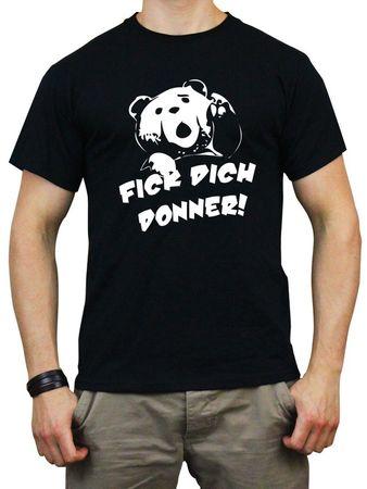T-Shirt F*ck Dich Donner! schwarz / weißer Flock