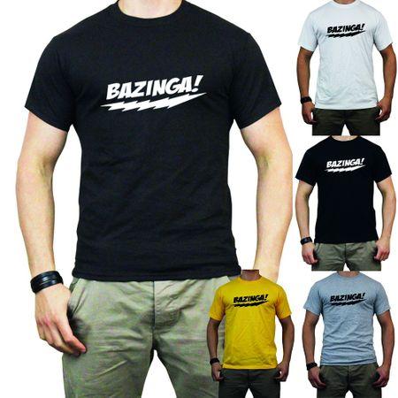 T-Shirt Bazinga + Blitz weiss/grau/gelb/schwarz/braun /  Flock
