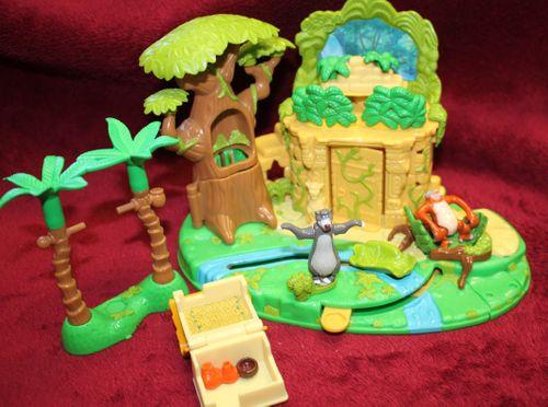 Polly Pocket Dschungelbuch mit 2 Figuren Palmen + Hütte Bluebird Disney 1998 (A-D-4) – Bild 3