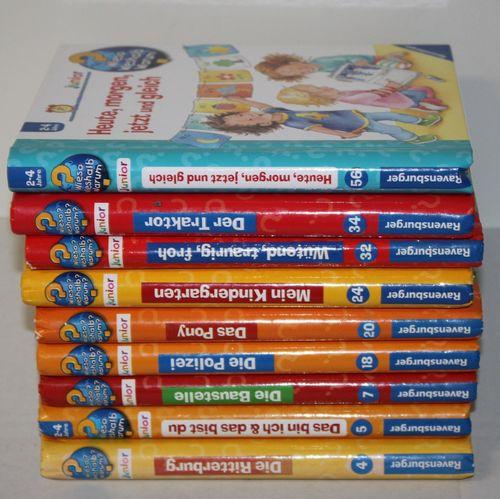 9x Wieso Weshalb Warum Junior Buch u.a. Heute morgen Pony Kindergarten Baustelle
