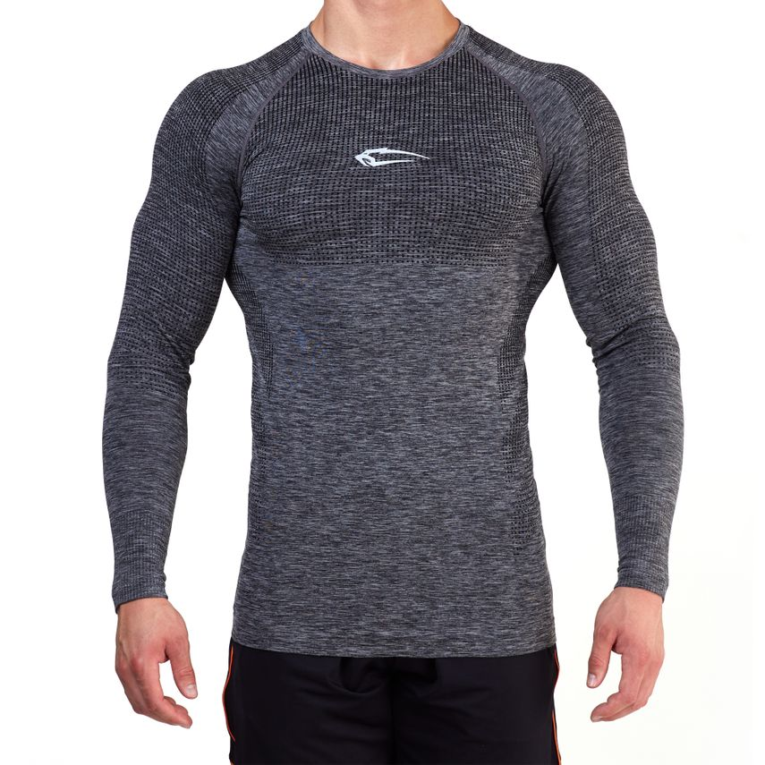 SMILODOX Slim Fit Longsleeve Herren Sport Fitness Gym Training Langarmshirt – Bild 2