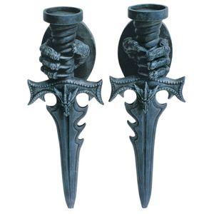Wandteelichthalter Drache Klauen halten Schwert 2tlg