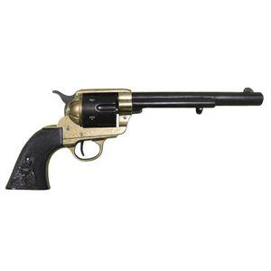 "Messingfarbener 7,5"" Deko 45er Peacemaker Kavallerie Colt schwarze Griffschale 1873"