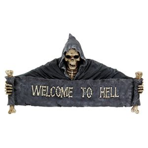 "Türschild Tod ""Welcome to Hell"" sw./weiss"