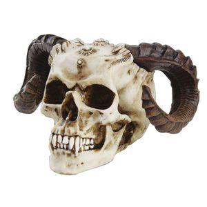 Vampir Dämon Kopf mit Widder Hörnern Gothic 17cm