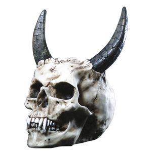 Dämon Teufel Totenkopf mit langen Hörnern Gothic 23cm