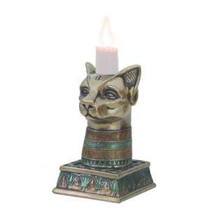 Ägyptischer Kerzenständer Bastet-Büste bronzefarbend