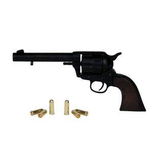 45er Deko Colt Peacemaker schwarz mit 6 Deko Patronen