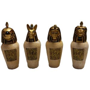 Ägyptische Kanopen 4-er Set Amset, Duamutef, Hapi, Kebechsenef – Bild 1