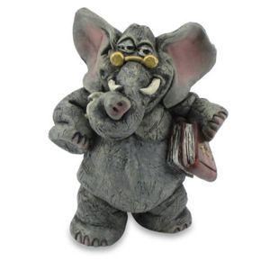 Funny Elefant - Professor mit Brille und Buch