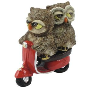 Funny Gufi - Eulen Liebespaar auf Motorroller rote Vespa