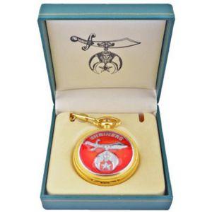 Freimaurer Freemason - Runde Shrinerstaschenuhr, goldfarben in Geschenkbox – Bild 1