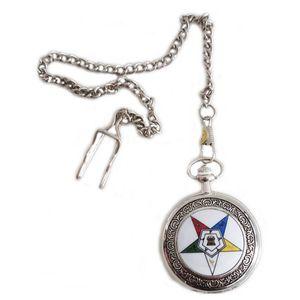 Freimaurer Freemason - Runde Freimaurertaschenuhr Stern des Ostens, silberfarben in Geschenkbox – Bild 2