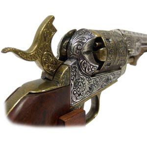Silber-Messingfarbener amerikanischer Deko Navy Colt mit brauner Griffschale 1851 Civil War – Bild 2