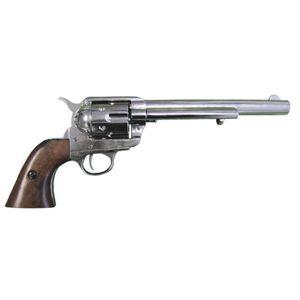 "Vernickelter 7,5"" Deko 45er Peacemaker Kavallerie Colt braune Griffschale 1873"