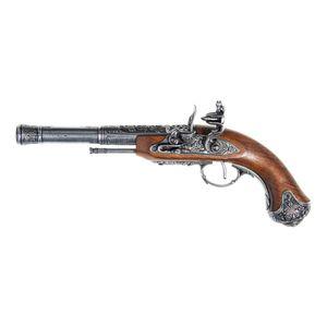 Graue indische Deko Linkshänder Steinschloss Pistole 18. Jhdt.