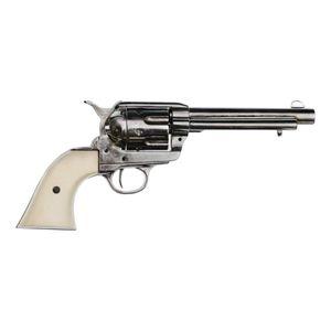 """Vernickelter 5,5"""" Deko 45er Peacemaker Army Colt 1873 helle Griffschale mit Fingermulden – Bild 1"""
