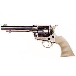 """Vernickelter 5,5"""" Deko 45er Peacemaker Army Colt 1873 helle Griffschale mit Fingermulden – Bild 2"""