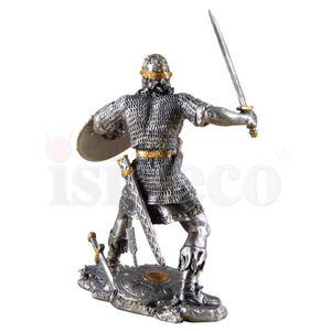 Zinn-Wikinger mit Schwert und Schild kämpfend – Bild 3