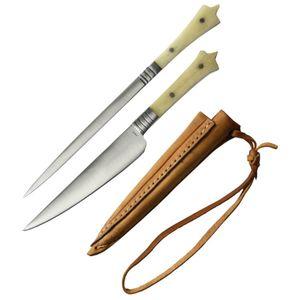 3er Set Mittelalterliches Messer und Spieß mit Lederscheide lang