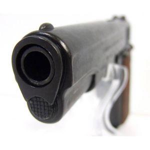 Deko Pistole Colt M1911 Government 1911 mit geriffelten Holzgriffschalen – Bild 4