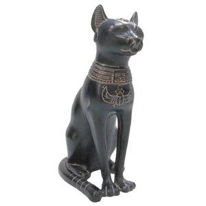 schwarz-antikfarbene ägyptische Göttin Bastet sitzend 14cm