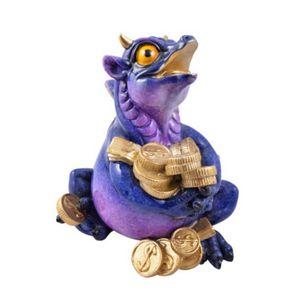Lustiger großer lila-blauer Drache spielt mit Geld - Porzellanfinish