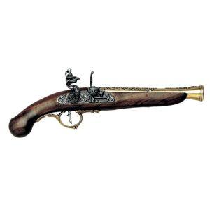 Messingfarbene deutsche Deko Steinschloßpistole 18. Jhdt.