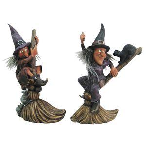 2er Set Lustige Hexen reiten auf Besen