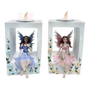 Enchanted Garden - Teelichthalter Feen sitzen im Rahmen 2er-Set – Bild 1